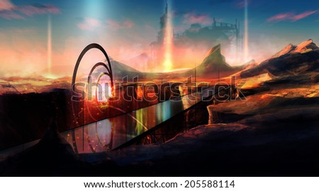 Scifi planet. Futuristic planet landscape illustration with hills and bridge generator. - stock photo