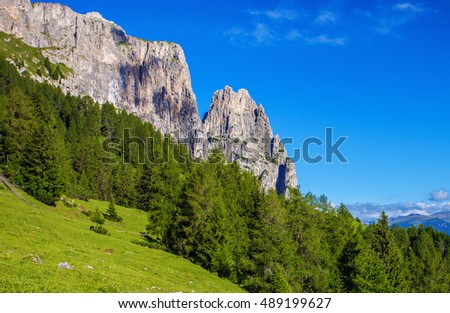 Sciliar mountain in Dolomite Alps. View from Alpe di Siusi, Italy