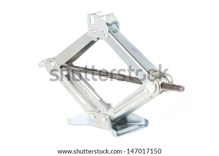 Scissor jack or car lifter isolated on white. - stock photo