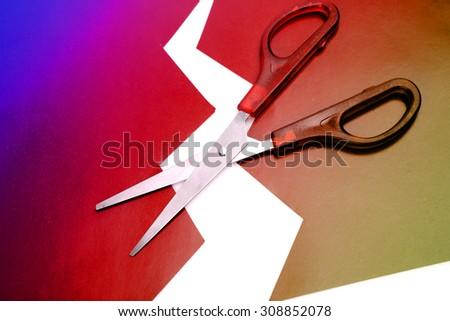scissors and paper - stock photo