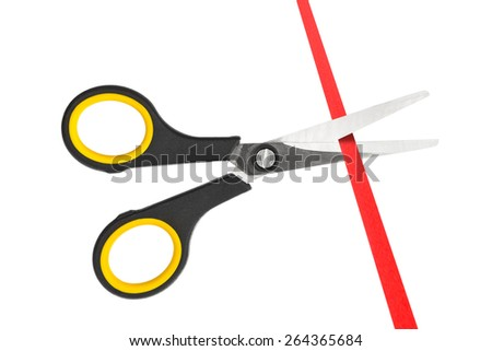 Scissors and ribbon isolated on white background - stock photo