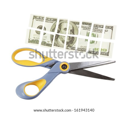 scissors cut a hundred dollar bill into many parts isolated on white background - stock photo