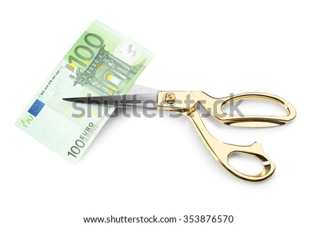 Scissors cut euro banknote, isolated on white - stock photo
