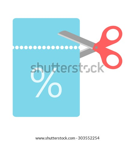 scissors cut for a coupon code. isolated on white background. flat design modern illustration. raster copy of vector illustration - stock photo