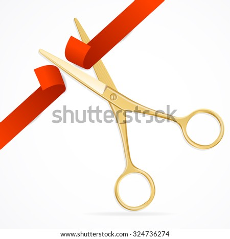 Scissors Cut Red Ribbon. The Symbol of the Grand Opening Event. illustration - stock photo