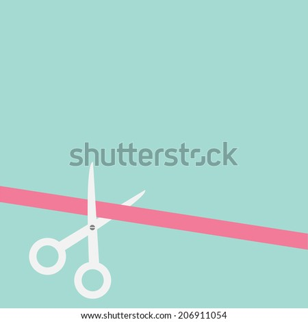 Scissors cut straight ribbon on the left. Flat design style.  - stock photo