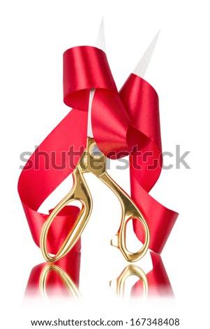 Scissors cut the red ribbon - stock photo