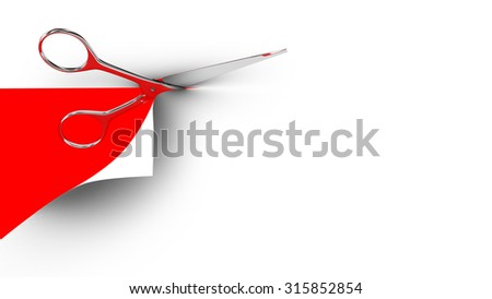 Scissors cutting a paper sheet in two parts. Red background. 3d render.