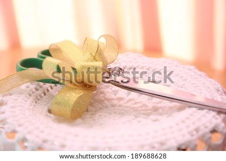 Scissors for ribbon cutting - stock photo