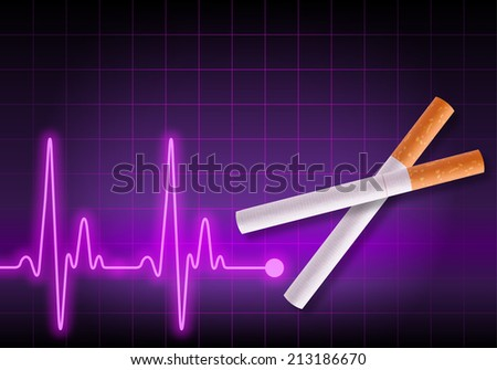 Scissors made of cigarettes on violet heart rate monitor cutting the heartbeat line - Anti Smoking campaign - Health hazard - stock photo