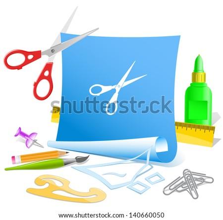 Scissors. Paper template. Raster illustration. - stock photo