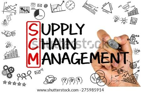 SCM concept:supply chain management handwritten on whiteboard - stock photo