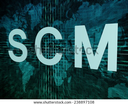 SCM - Supply Chain Management text concept on green digital world map background  - stock photo