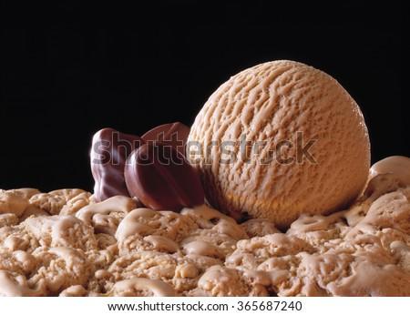 Scoop, mocca icecream with pralines - stock photo