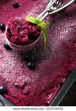 Scoop of blueberry ice-cream close-up - stock photo
