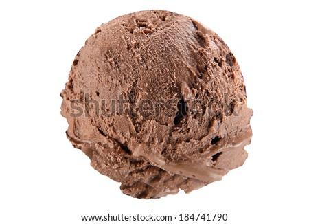 Scoop of chocolate ice cream on white background with clipping path - stock photo