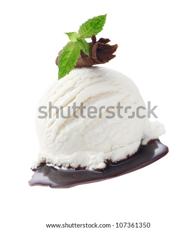 Scoop of creamy vanilla icecream served with chocolate sauce and garnished with a rolled shaving of milk chocolate and mint leaves