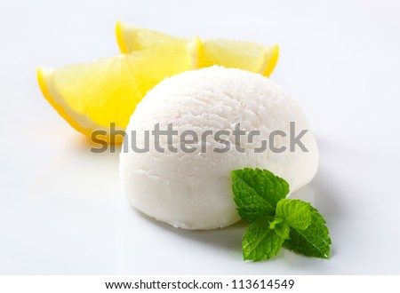 Scoop of lemon ice cream