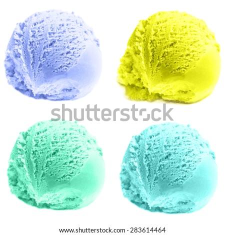 Scoop of Mango  ice cream isolated  on white background. Ball of Orange Lemon Ice-Cream close up. - stock photo