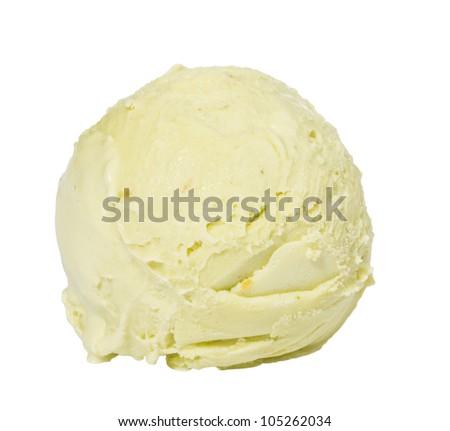 Scoop of pistachio ice cream from top on white background - stock photo