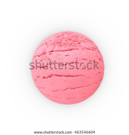 Scoop of strawberry ice ball. Extreme close-up view. 3D Rendering