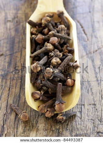 Scoopful of cloves - stock photo