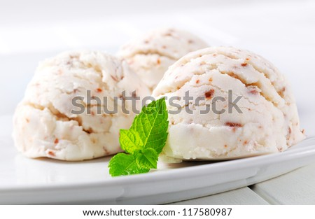 Scoops of stracciatella ice cream