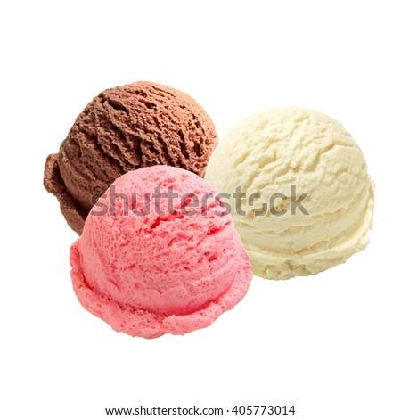 Scoops of vanilla, strawberry and chocolate ice cream on white background - stock photo