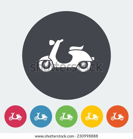 Scooter. Single flat icon on the circle. - stock photo