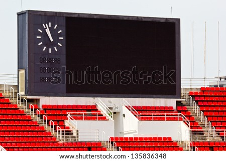 Score board show your the result game with blue sky - stock photo