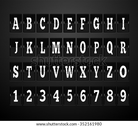 Scoreboard alphabet and set of figures. Letter and alphabet letters, font and numbers, abc typography, board and figure, number panel, information typeset, interface numeral. Raster version