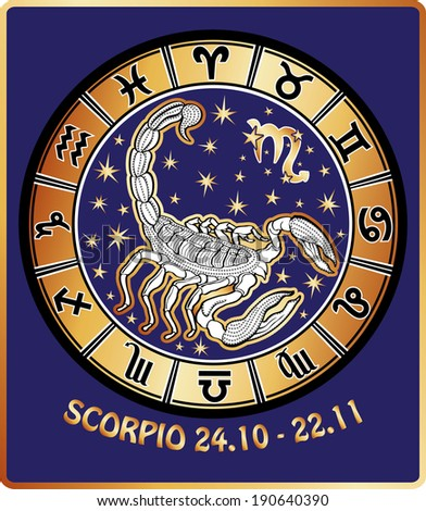 Scorpio and all zodiac signs in Horoscope circle. Golden and white figure on blue background.Graphic  Illustration in retro style.   - stock photo