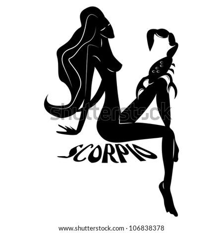 Scorpio/Elegant zodiac signs silhouettes isolated on white - stock photo