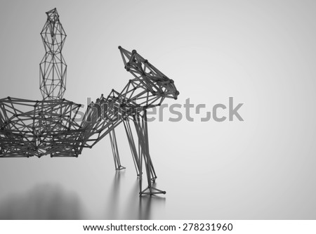 Scorpio stylized low poly wire construction concept concepts connection