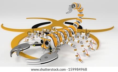 Scorpion - 3D Illustration - Robotic. - stock photo