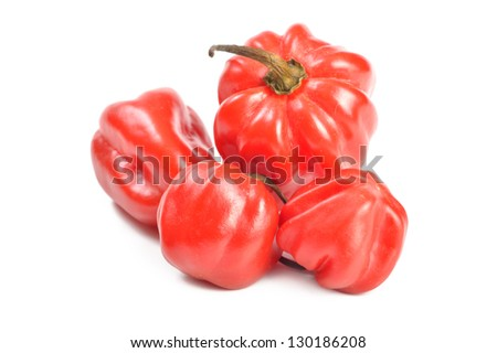 scotch bonnet peppers (chili) on a white background close-up - stock photo