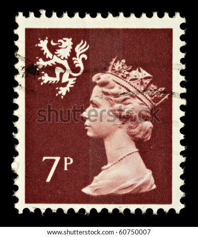 SCOTLAND - CIRCA 1971 to 1993: A Scottish Used Postage Stamp showing Portrait of Queen Elizabeth 2nd, circa 1971 to 1993 - stock photo