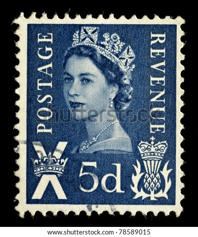 SCOTLAND - CIRCA 1958 to 1970: A Scottish Used Postage Stamp showing Portrait of Queen Elizabeth 2nd, circa 1958 to 1970 - stock photo