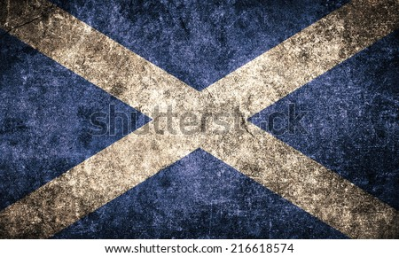 Scotland flag on the grunge concrete wall - stock photo
