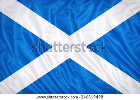 Scotland flag pattern on the fabric texture ,vintage style - stock photo
