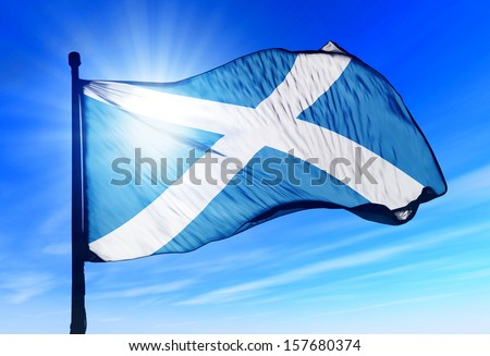 Scotland flag waving on the wind - stock photo