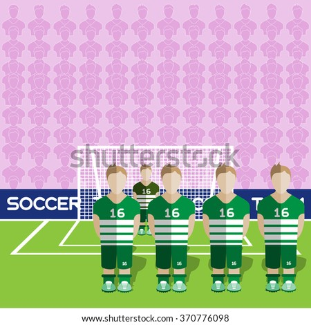 Scotland Football Club Soccer Players Silhouettes. Computer game Soccer team players big set. Sports infographic. Football Teams in Flat Style. Goalkeeper Standing in a Goal. Raster illustration. - stock photo