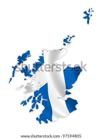 Scotland map on a waving flag - stock photo