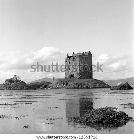 Scotland's Castle Stalker with film grain - stock photo