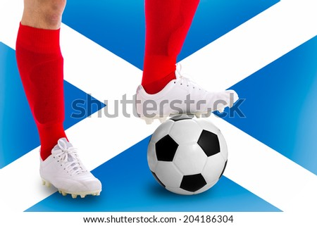 Scotland   soccer player with football for competition in Match game.
