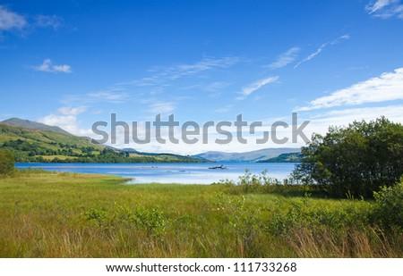 Scotland, summer landscape with Loch Tay near Killin - stock photo