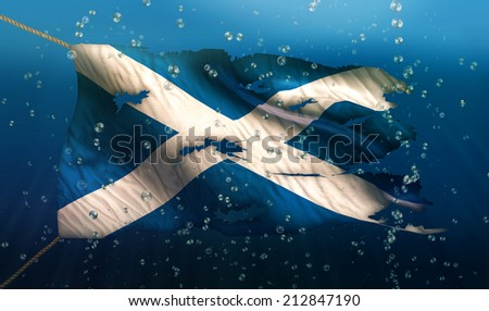 Scotland Under Water Sea Flag National Torn Bubble 3D - stock photo