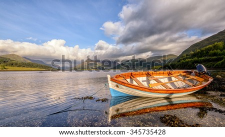 SCOTLAND, UNITED KINGDOM - SEPTEMBER 9, 2015: A small boat on a lake in Scotland