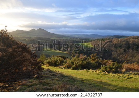Scott's view: valley with rolling grassland in the Scottish Borders of the UK
