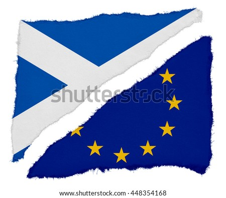 Scottish and EU Flag Torn Paper Scraps Isolated on White Background